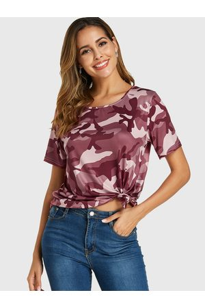 YOINS Camouflage Round Neck Short Sleeves Tee