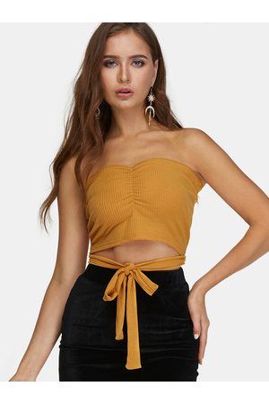 YOINS Lace-up Design Strapless Sleeveless Crop Top