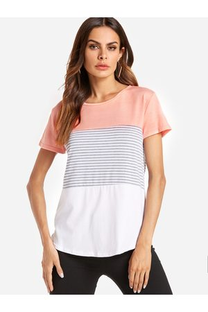 YOINS Pink Stitching Stripe Pattern T-shirt with Contrast Color