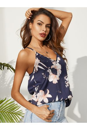 YOINS Navy Random Floral Print Deep V-neck Backless Camis