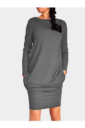 YOINS Dark Casual Round Neck Bodycon Hem Mini Dress