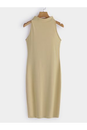 YOINS Apricot Sexy Perkins Collar Sleeveless Bodycon Dress