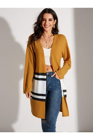 YOINS Yellow Stripe Patchwork Long Sleeves Cardigan