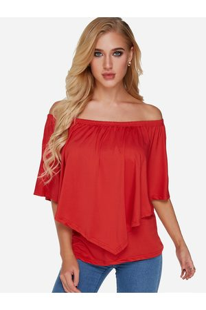 YOINS Off-the-shoulder Overlay Half Sleeves T-shirt