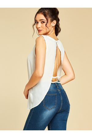 YOINS Backless Design Round Neck Tank Top