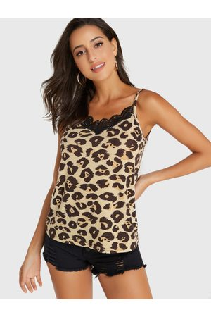 YOINS Coffee Leopard Lace Insert V-neck Cami