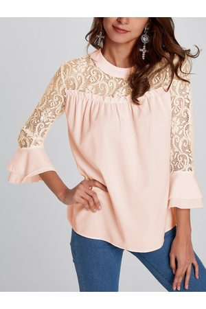 YOINS Casual Lace Insert Stitching Chiffon Top in Apricot