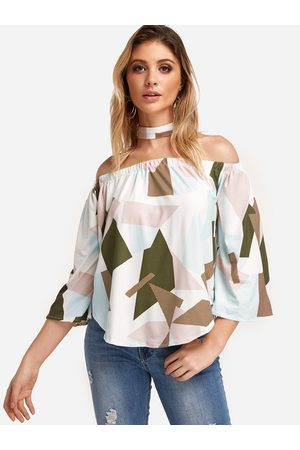YOINS Coffee Printed Off Shoulder Fashion Blouse With Scarf