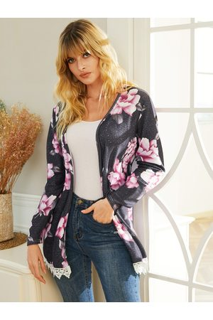 YOINS Grey Random Floral Print Long Sleeves Cardigan