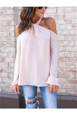YOINS Sexy Halter Neck Back Zip Long Sleeves Chiffon Blouse