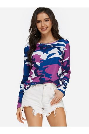 YOINS Camouflage Round Neck Long Sleeves Regular Fit T-shirt