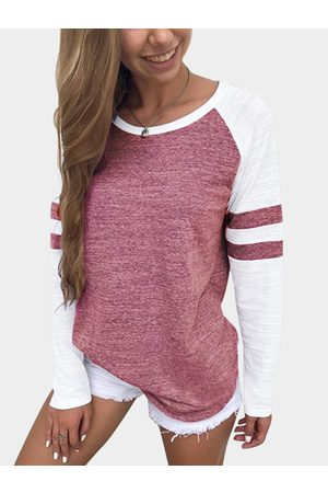 YOINS Stripe Colorblock Round Neck Raglan Sleeves T-shirt