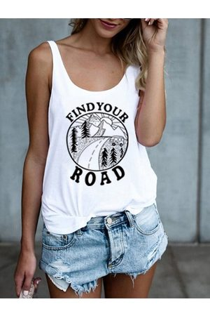 YOINS Casual Graphic Round Neck Sleeveless Cami