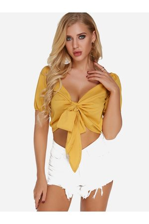 YOINS V-neck Short Sleeves Tie-up Design Crop Top