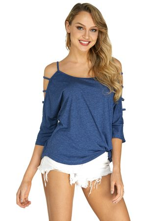 YOINS Cold Shoulder 3/4 Length Sleeve T-shirt with Strappy Detail