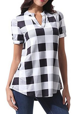 YOINS Casual Plaid Curved Hem V-neck Short Sleeves Tee