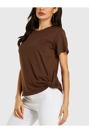 YOINS Coffee Twisted Round Neck Short Sleeves Tee