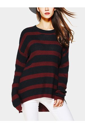 YOINS Red And Black Stripe Pattern Round Neck Long Sleeves Jumper