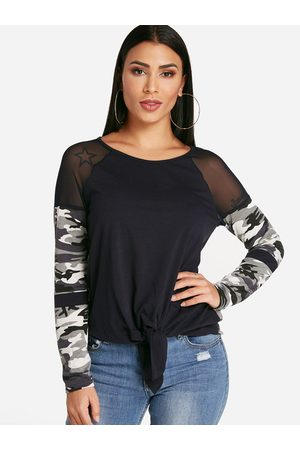 YOINS Camouflage Patchwork Crew Neck Self Tie Design Long Sleeves T-shirts