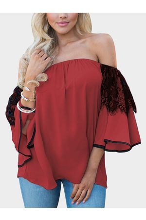 YOINS Lace Insert Off Shoulder Lantern Sleeves Blouse