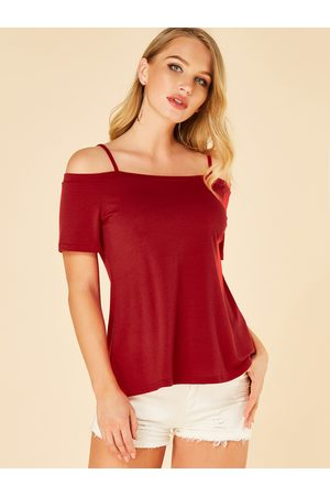 YOINS Spaghetti Strap Cold Shoulder Short Sleeves Tee