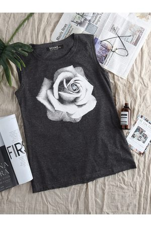 YOINS Dark Gray Rose Print Round Neck Tank Top