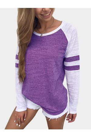 YOINS Spell Color Round Neck Long Sleeves T-shirt