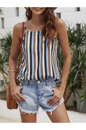 YOINS Multi Color Stripe Spaghetti Strap Square Neck Cami
