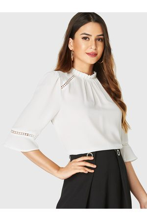 YOINS Ruched Frill Neck Half Sleeves Blouse