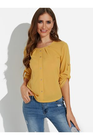 YOINS Single Breasted Design Round Neck 3/4 Length Sleeves T-shirts