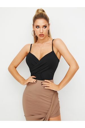 YOINS Black Wrap Design Deep V-neck Cami