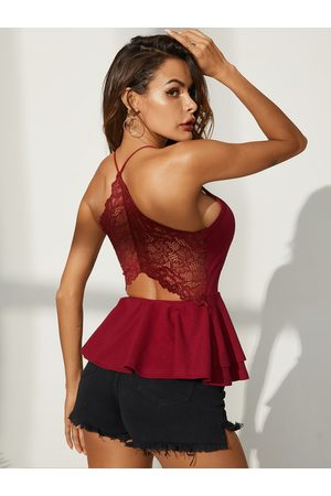 YOINS Backless Design Lace Patchwork V-neck Sleeveless Cami