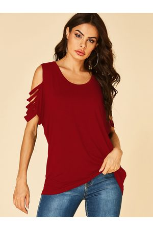 YOINS Cold Shoulder Cut Out Short Sleeves Tee