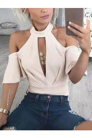 YOINS Beige Cut Out Halter Short Sleeves Tee