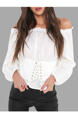 YOINS Lace-up Off The Shoulder Lantern Sleeves Blouses