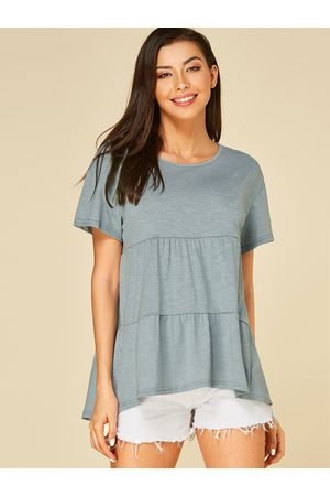 YOINS Mint Round Neck Short Sleeves Blouse