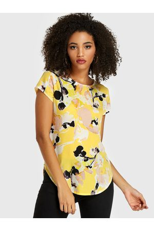 YOINS Abstract Printed Round Neck Short Sleeves Blouse