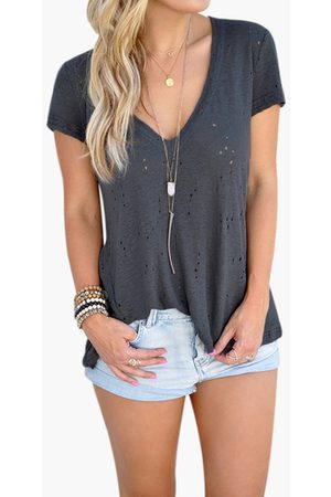 YOINS V-neck Hollow Out Short Sleeves T-shirts in