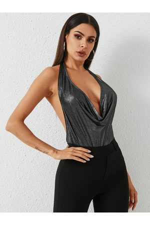 YOINS Glitter Backless Deep V Neck Halter Cami