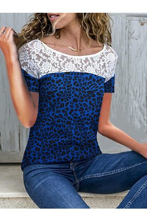 YOINS Casual Leopard Lace Insert Round Neck Short Sleeves Tee