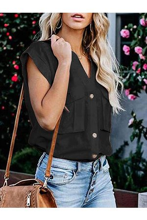 YOINS V-neck Short Sleeves Blouse