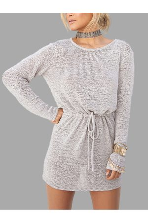 YOINS Grey Open Back Drawstring Waist Knit Mini Dress