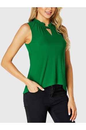 YOINS Cut Out Frill Neck Sleeveless Top