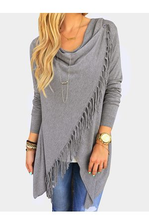 YOINS Wrap Design Drape Sagging Long Sleeves Tee