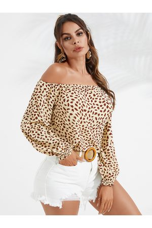 YOINS Calico Off The Shoulder Long Sleeves Blouse