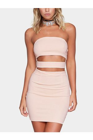 YOINS Cutout Tube Design Zip Back Mini Bodycon Dress