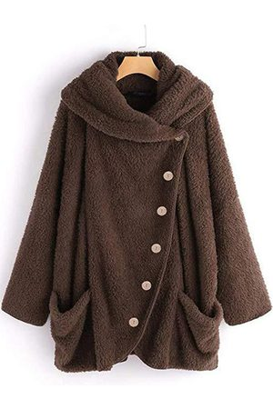 YOINS Fleece Hooded Design Front Button Long Sleeves Coat