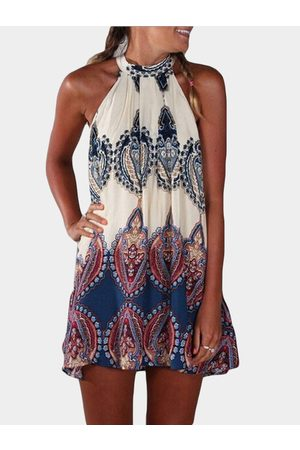 YOINS Random Tribal Print Self-tie Design Halter Sleeveless Dress