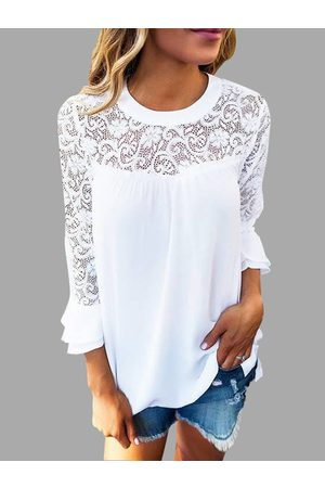 YOINS Casual Lace Insert Stitching Chiffon Top in