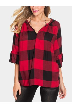 YOINS Red Grid V-neck Flared 3/4 Length Sleeves Blouses